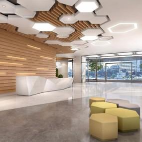 现代办公楼前厅3D模型【ID:728104752】