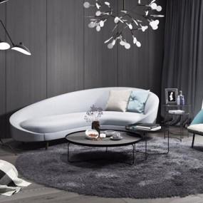 现代弧形沙发茶几组合3D模型【ID:928202929】