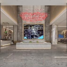 新中式售楼处大厅3D模型【ID:428444519】