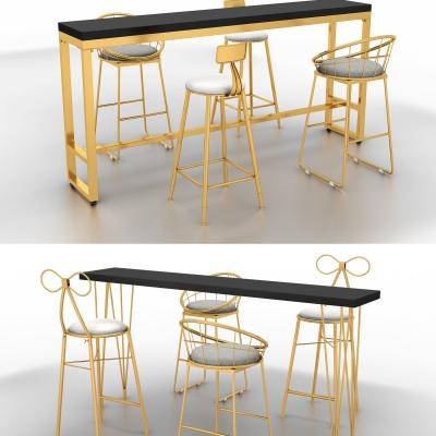 现代金属吧桌吧椅组合3D模型【ID:328442631】