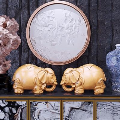富貴大象雕塑陳設擺件組合3D模型【ID:327936812】