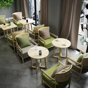 北欧简约休闲咖啡厅实木桌椅组合3D模型【ID:327897427】