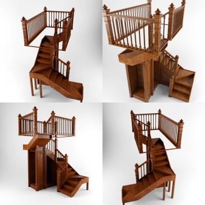 美式實木樓梯3D模型【ID:828473546】