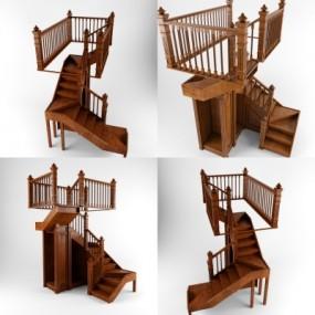 美式实木楼梯3D模型【ID:828473546】