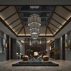 新中式大厅3D模型【ID:124896684】