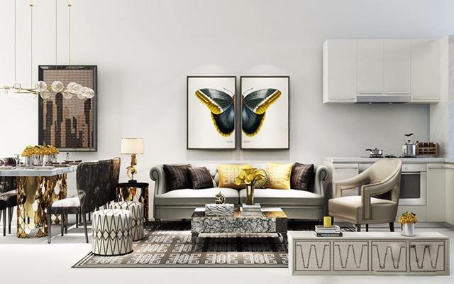 后现代客餐厅厨房软装组合 后现代沙发 茶几 单人椅 凳子 餐桌 餐椅 吊灯 组合装饰画 橱柜 厨具 电视柜 摆件