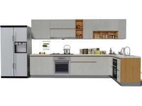 现代橱柜冰箱摆件组合3D模型【ID:727808317】