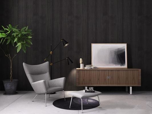 北欧休闲沙发电视柜3D模型【ID:928183601】