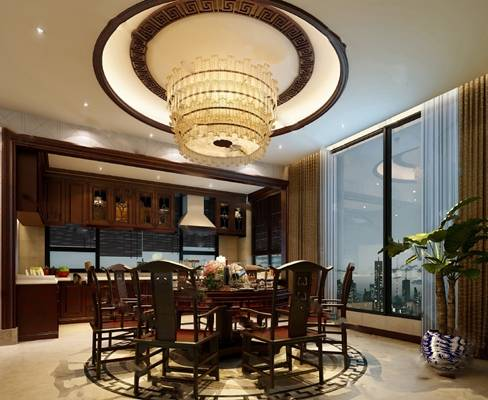 中式餐厅3D模型【ID:819616594】