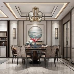 新中式餐厅3D模型【ID:127767898】