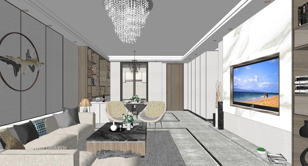现代客厅餐厅室内设计SU模型【ID:937105830】