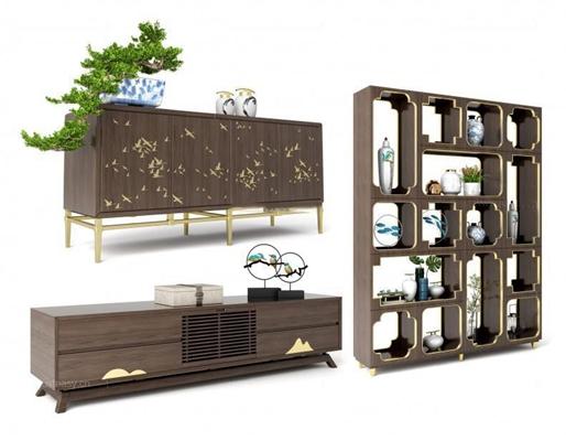 新中式柜子陈设组合3D模型【ID:928172095】