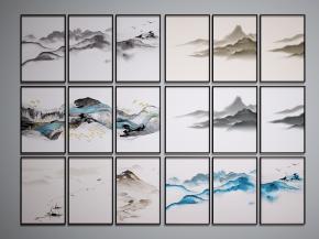中式山水装饰画组合3D模型【ID:127755010】