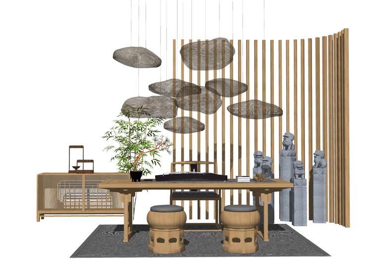 中式茶桌SU模型【ID:437105246】