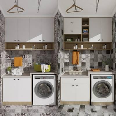 现代洗衣机柜3D模型