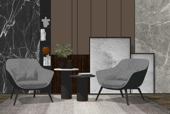 现代休闲椅茶几组合SU模型【ID:946381421】