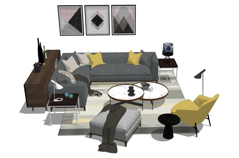 意式风格客厅沙发茶几组合SU模型【ID:437105169】