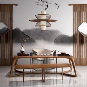 新中式禅意茶艺座椅吊灯组合3D模型【ID:327928656】