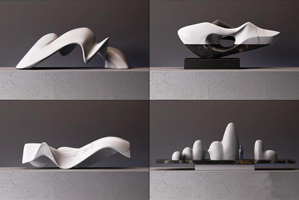 现代创意石材工艺饰品3D模型【ID:327929879】
