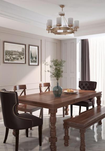 美式餐桌椅3d模型【ID:328246693】