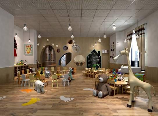 现代幼儿园3D模型【ID:124888244】