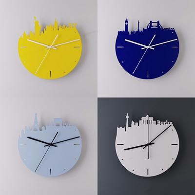 现代北欧城市天际线钟表3D模型【ID:828149260】