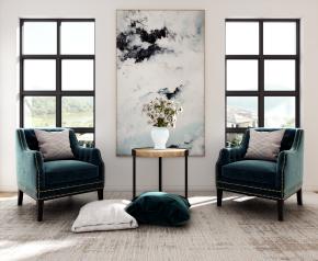 简欧休闲沙发椅茶几组合3D模型【ID:227779448】