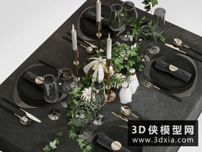 現代餐具組合國外3D模型【ID:929363949】