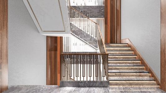 現代輕奢樓梯3D模型【ID:831948583】