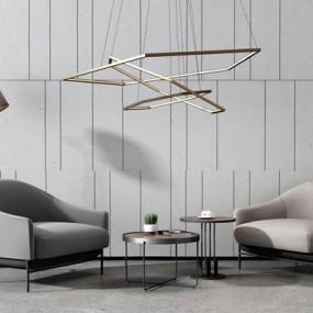 高级灰沙发椅金属吊灯组合3D模型【ID:928206650】