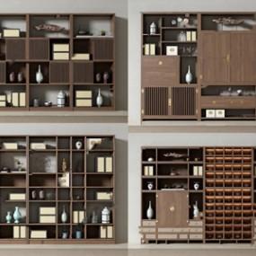 新中式书柜组合3D模型【ID:141631547】
