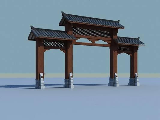 中式牌坊3D模型【ID:124888231】
