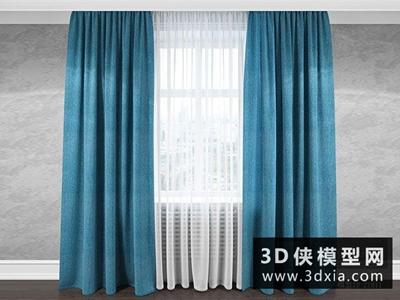 现代窗帘国外3D模型【ID:329447892】