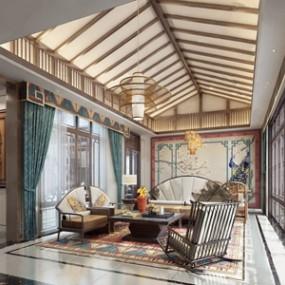 新中式客厅 3D模型【ID:541549027】