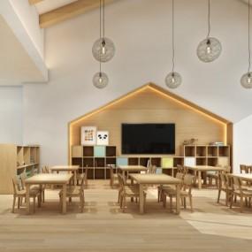 现代幼儿园教室3D模型【ID:528453823】