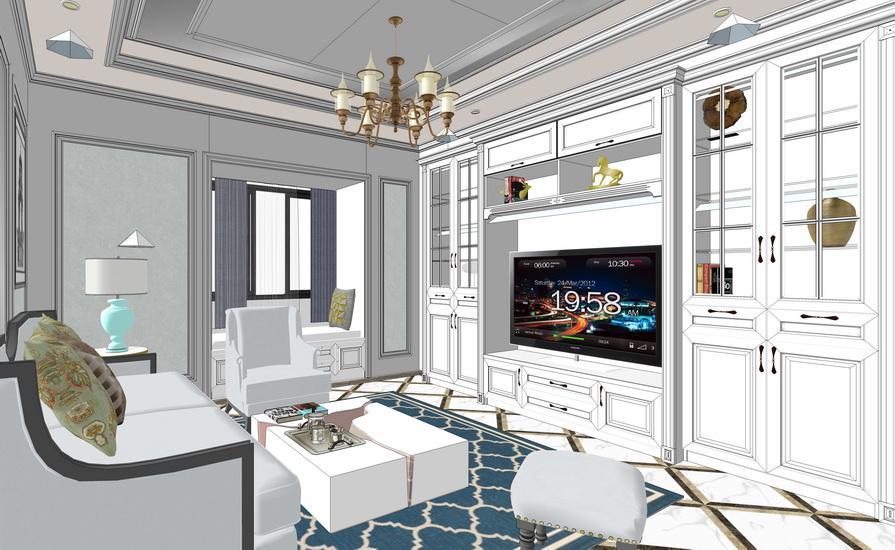 美式風格三房兩廳室內設計SU模型【ID:937106834】