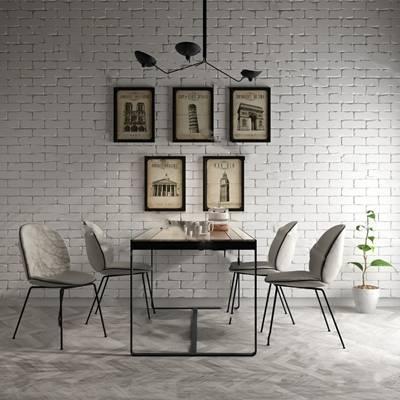 北欧桌椅组合3D模型下载【ID:319453478】