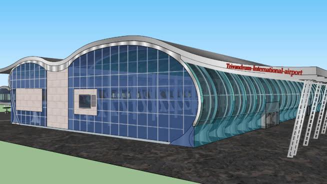 特里瓦得琅机场。喀拉拉邦,印度。SU模型【ID:840453541】