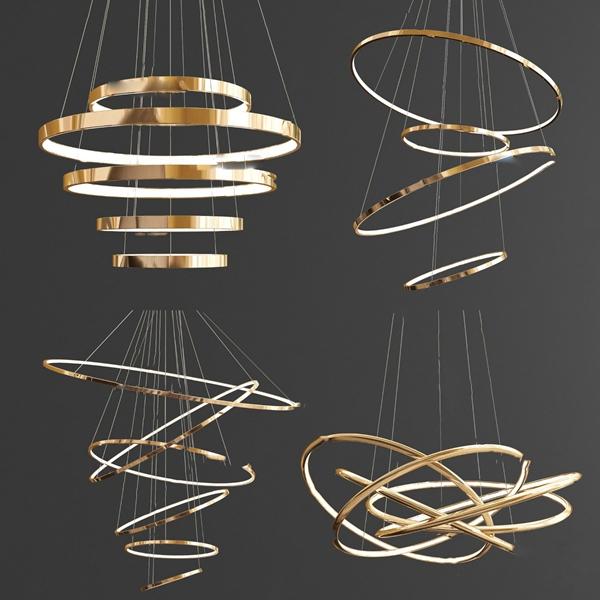 现代环形金属吊灯组合3d模型