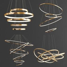 現代環形金屬吊燈組合3d模型【ID:748245868】
