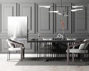 现代餐桌椅吊灯摆件组合3D模型【ID:327786407】