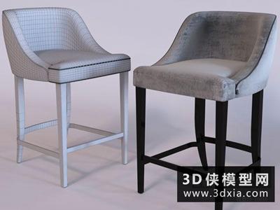 现代吧椅国外3D模型【ID:729501822】