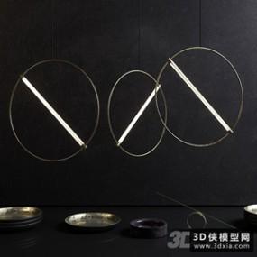 黄铜圆管荧光吊灯国外3D模型【ID:829311756】