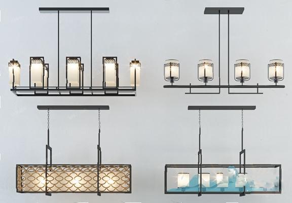 新中式吊灯3D模型【ID:226231835】
