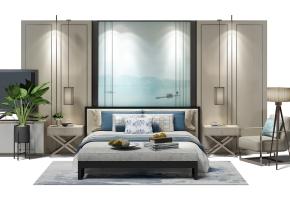 新中式床头背景墙双人床床头柜摆件组合3D模型【ID:727807004】