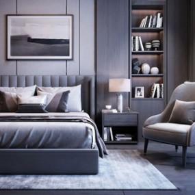 现代床椅子组合3D模型【ID:841979732】