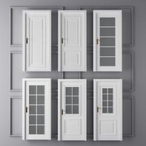 简欧白色洗手间门组合3D模型【ID:727807560】