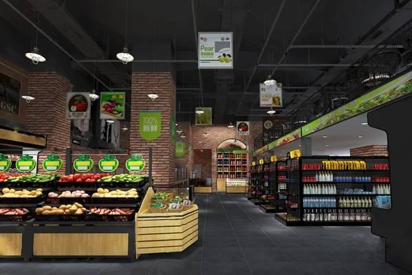 现代超市3D模型【ID:324895148】