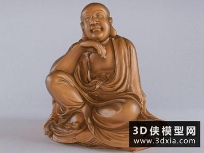 沉思罗汉雕塑国外3D模型【ID:929549773】