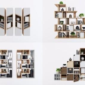 北欧书柜组合3D模型【ID:928202544】